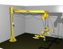 Articulated jib crane manipulator 2RM with hanged frame with vacuum pads