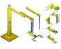 Articulated jib crane manipulator with torque arm 3RM with different end effectors